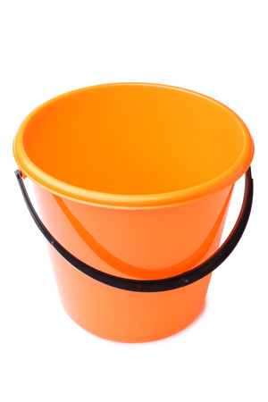 drudgery: Orange plastic bucket on white background