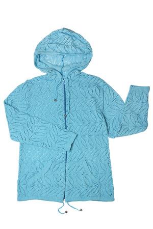 knitted jacket: Hooded knitted jacket isolated on white background Stock Photo