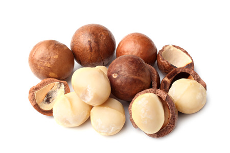 Macadamia nut on white background Stock Photo