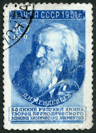 classification: USSR - CIRCA 1951: A stamp printed in USSR shows Dmitri Ivanovich Mendeleev (1834-1907), chemist, Author of the Periodic Law (classification of elements), circa 1951
