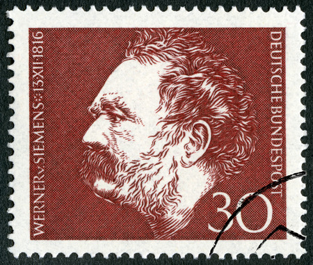 industrialist: GERMANY - CIRCA 1966: A stamp printed in Germany shows Ernst Werner Siemens (1816-1992), inventor and industrialist, electrical engineer, circa 1966
