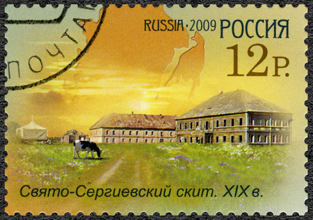 send to prison: RUSSIA - CIRCA 2009: A stamp printed in Russia shows Sviato-Sergievsky skit, series the worldwide cultural heritage in Russia. Historical - cultural complex in Solovetsky islands, circa 2009 Editorial