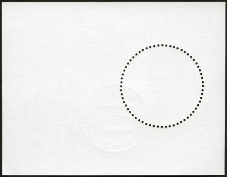 black block: Blank postage stamp block souvenir sheet on a black background