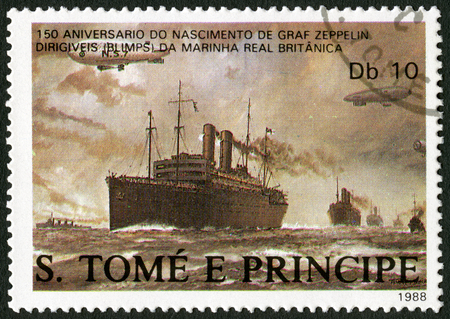 ferdinand: ST. THOMAS AND PRINCE ISLANDS - CIRCA 1988: A stamp printed in St.Thomas shows Dirigibles flying over British merchant ships, series Ferdinand Graf Von Zeppelin (1838-1917), circa 1988 Editorial