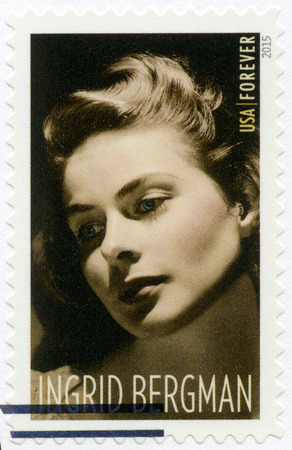 legends: UNITED STATES OF AMERICA - CIRCA 2015: A stamp printed in USA shows shows Ingrid Bergman (1915-1982), series Legends of Hollywood, actress, circa 2015