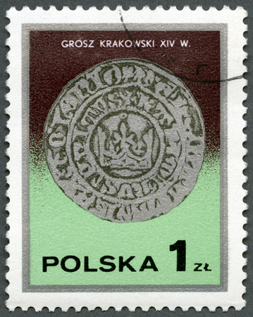 postmail: POLAND - CIRCA 1977: A stamp printed in Poland shows King Kazimierz Wielkis Cracow groszy, 14th century, series Silver Coins, circa 1977
