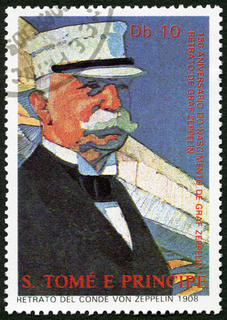 graf: ST. THOMAS AND PRINCE ISLANDS - CIRCA 1988: A stamp printed in St.Thomas shows Ferdinand Graf Von Zeppelin (1838-1917), circa 1988 Editorial
