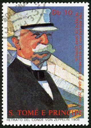 ferdinand: ST. THOMAS AND PRINCE ISLANDS - CIRCA 1988: A stamp printed in St.Thomas shows Ferdinand Graf Von Zeppelin (1838-1917), circa 1988 Editorial