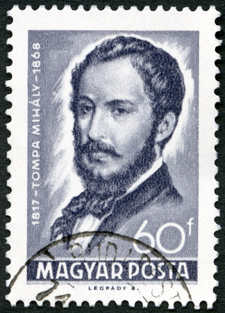 dramatist: HUNGARY - CIRCA 1968: A stamp printed by Hungary shows Mihaly Tompa (1817-1868), Poet, circa 1968 Editorial