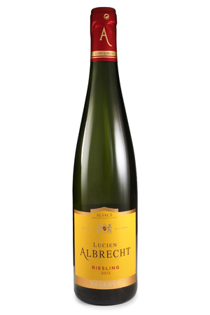 riesling: ST. PETERSBURG, RUSSIA - August 30, 2015: Bottle of Lucien Albrecht, Riesling Reserve, Alsace, France, 2012
