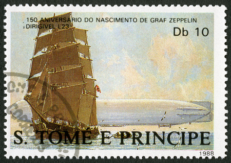 ferdinand: ST. THOMAS AND PRINCE ISLANDS - CIRCA 1988: A stamp printed in St.Thomas shows Sailing ship, dirigible L23, series Ferdinand Graf Von Zeppelin (1838-1917), circa 1988
