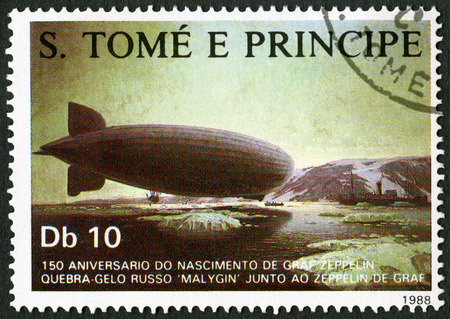 ferdinand: ST. THOMAS AND PRINCE ISLANDS - CIRCA 1988: A stamp printed in St.Thomas shows Rendezvous of zeppelin with Russian ice breaker Malygin, series Ferdinand Graf Von Zeppelin (1838-1917), circa 1988 Editorial