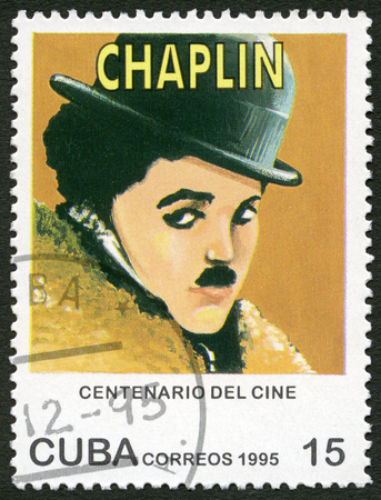 chaplin: CUBA - CIRCA 1995: A stamp printed in Cuba shows Mario Fortino Charlie Chaplin (1889-1977), series Century Motion Pictures, circa 1995