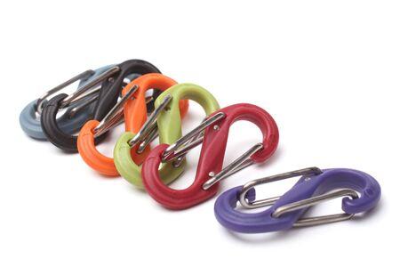 clasps: Plastic clasps on white background Stock Photo