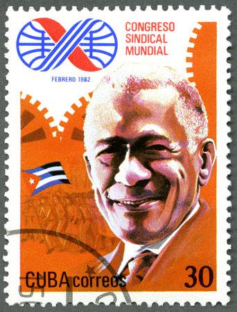 delegar: CUBA - CIRCA 1982: Un sello impreso en Cuba se dedican los 10� Congreso Mundial de Sindicatos, La Habana, muestra L�zaro Pe�a, delegado, alrededor de 1982