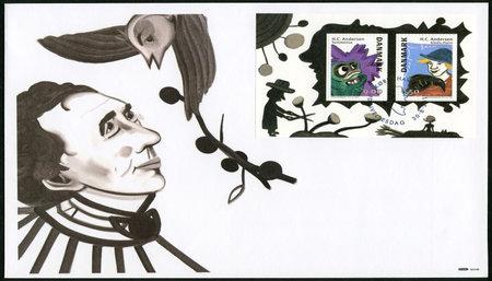 hans: DENMARK - CIRCA 2014: A stamp printed in Denmark shows Hans Christian Andersen (1805-1875),  writer, circa 2014