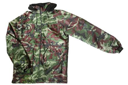 khaki pants: Camouflage jacket isolated on white background