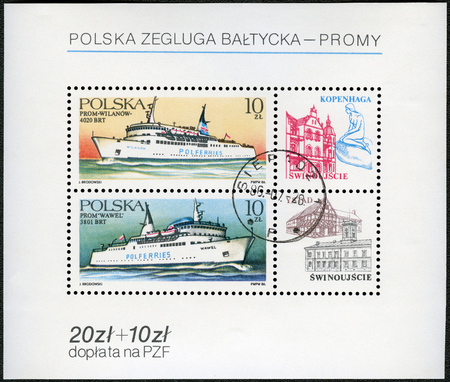 wilanow: POLAND - CIRCA 1986: A stamp printed in Poland shows Ferryboats Wilanow and Wawel, circa 1986