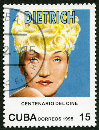 cinematograph: CUBA - CIRCA 1995: A stamp printed in Cuba shows Marie Magdalene Marlene Dietrich (1901-1992), series Century Motion Pictures, circa 1995 Editorial