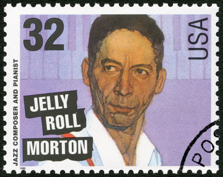 composer: UNITED STATES OF AMERICA - CIRCA 1995: A stamp printed in USA shows Ferdinand Joseph LaMothe, Jelly Roll Morton (1890-1941), jazz composer and pianist, circa 1995 Editorial
