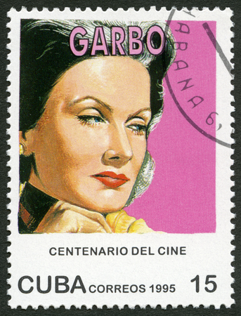 postage stamp: CUBA - CIRCA 1995: A stamp printed in Cuba shows Greta Garbo Lovisa Gustafsson (1905-1990), series Century Motion Pictures, circa 1995 Editorial