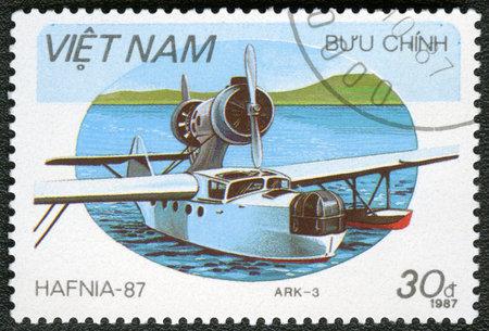 avia: VIETNAM - CIRCA 1987: A stamp printed in Vietnam shows Amphibian Chetverikov ARK-3, series Hafnia 87, circa 1987