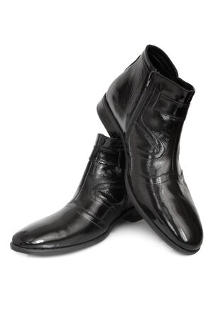 Leather boots on white background