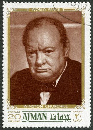 winston: UAE - CIRCA 1970: A stamp printed in Ajman United Arab Emirates UAE shows Sir Winston Leonard Spencer Churchill (1874-1965), politician, circa 1970 Editorial