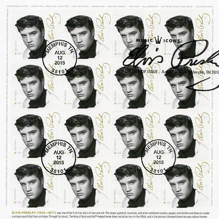 elvis presley: UNITED STATES Of AMERICA - CIRCA 2015: A stamp printed in USA shows Elvis Presley (1935-1977), the singer, guitarist, musician, Music Icons Series, circa 2015