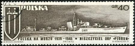 thunderbolt: POLAND - CIRCA 1970: A stamp printed in Poland shows Grunwald Cross and Warship Piorun Thunderbolt, circa 1970