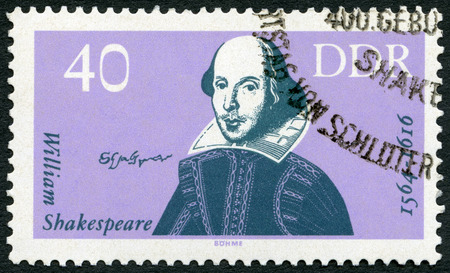 william shakespeare: GERMAN DEMOCRATIC REPUBLIC - CIRCA 1964: A stamp printed in GDR Germany shows William Shakespeare (1564-1616), 400th birth anniversary, circa 1964