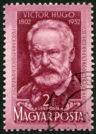 magyar: HUNGARY - CIRCA 1952: A stamp printed in Hungary shows Victor Marie Hugo (1802-1885), 150th birth anniversary, circa 1952