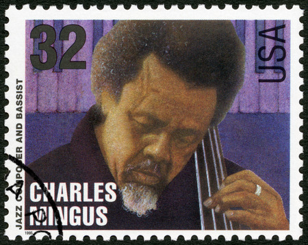 gospel music: UNITED STATES OF AMERICA - CIRCA 1995: A stamp printed in USA shows Charles Mingus Jr. (1922-1979), jazz composer and bassist, circa 1995