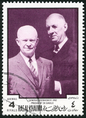 ras: UAE - CIRCA 1970 : A stamp printed in Ras al-Khaimah United Arab Emirates UAE shows Dwight D. Eisenhower (1890-1969) and Charles de Gaulle  (1890-1970), circa 1970