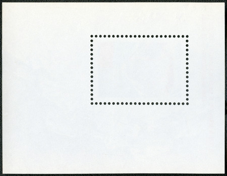 blanked: Blank postage stamp block souvenir sheet on a black background