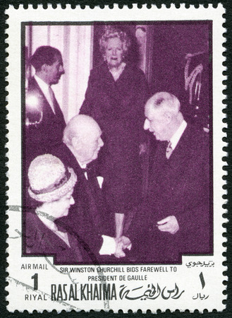 ras: UAE - CIRCA 1970 : A stamp printed in Ras al-Khaimah United Arab Emirates UAE shows Sir Winston Leonard Spencer Churchill (1874-1965) and Charles de Gaulle (1890-1970), circa 1970 Editorial
