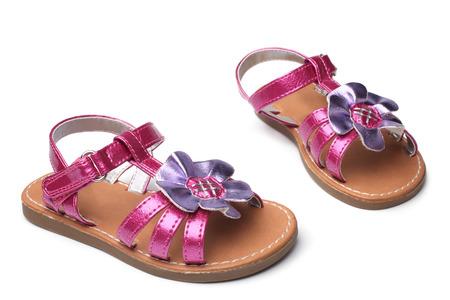 velcro: Baby girl sandals on white background
