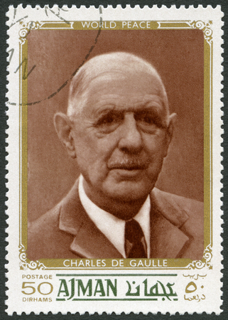postage stamp: UAE - CIRCA 1970: A stamp printed in Ajman United Arab Emirates UAE shows Charles de Gaulle (1890-1970), politician, circa 1970
