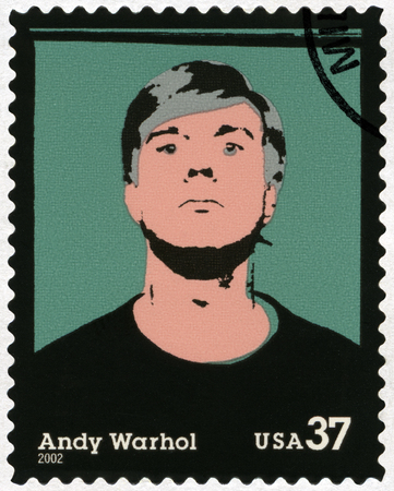 andy warhol: UNITED STATES OF AMERICA - CIRCA 2002: A stamp printed in USA shows Self-Portrait, Andy Warhol (1928-1987), artist, circa 2002