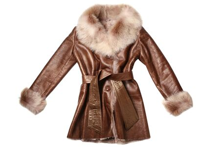 Sheepskin coat isolated on white background