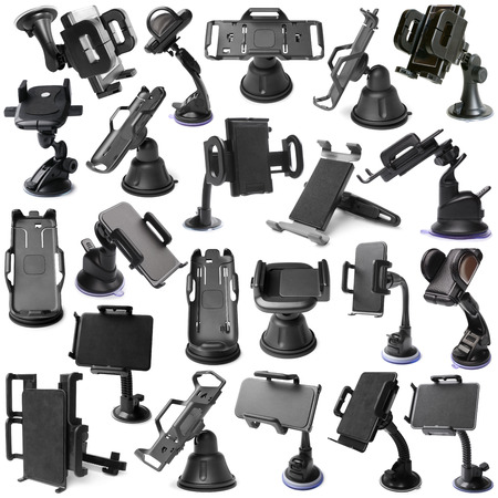 microcomputer: Selection of various car holders on white background Stock Photo