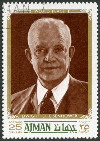 united states postal service: UAE - CIRCA 1970: A stamp printed in Ajman United Arab Emirates UAE shows Dwight D. Eisenhower, 34rd President (1890-1969), circa 1970 Editorial