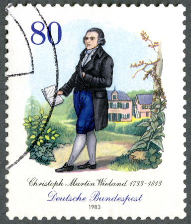 postmail: GERMANY - CIRCA 1983: A stamp printed in Germany shows Christoph Martin Wieland (1733-1813), poet, circa 1983 Editorial