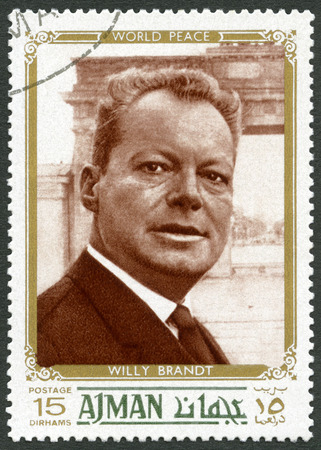 willy: UAE - CIRCA 1970 : A stamp printed in Ajman United Arab Emirates UAE shows Willy Brandt (1913-1992), politician, circa 1970 Editorial