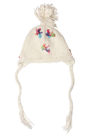 frost bound: Warm woolen knitted hat for little girls isolated on white background Stock Photo