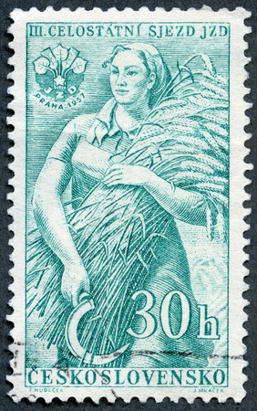 czech women: CZECHOSLOVAKIA - CIRCA 1957: A stamp printed in Czechoslovakia shows Farm Woman, series 3rd Congress of Agricultural Cooperatives, circa 1957