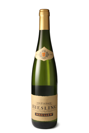 riesling: ST. PETERSBURG, RUSSIA - August 28, 2015: Bottle of Jean Hauller and Fils, Riesling, Alsace, France, 2013