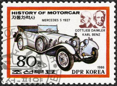 benz: NORTH KOREA - CIRCA 1986: A stamp printed in North Korea shows Gottlieb Daimler, Karl Benz and Mercedes S, 1927, series History of the Motor Car, circa 1986 Editorial