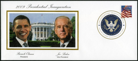 president: UNITED STATES OF AMERICA - CIRCA 2008: A stamp printed in USA shows an American Flag flying in the breeze at sunset, series Flag 247, 44th President Barack Obama and Vice President Joe Biden, circa 2008