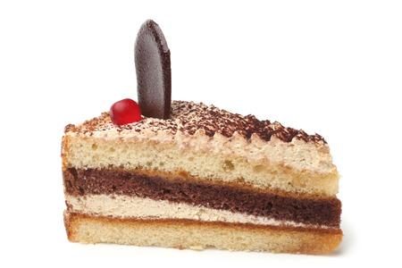 cream on cake: Slice of cream cake on white background